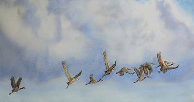 Painting - Cranes Leave  Autumn Passes by Vicky Lilla