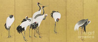 Screen-print Painting - Cranes by Maruyama Okyo