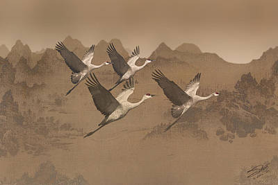 Painting - Cranes Migrating Over Mongolia by IM Spadecaller