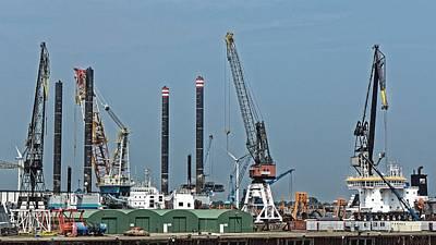 Photograph - Cranes, Rotterdam 2014 by Chris Honeyman
