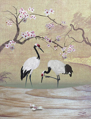 Painting - Cranes Under Cherry Tree by IM Spadecaller
