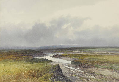 Cloudy Drawing - Cranmere Pool, Dartmoor by Frederick John Widgery