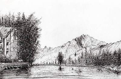 Lake Drawing - Crans  Switzerland by Vincent Alexander Booth