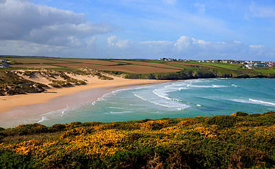 Crantock Beach And Yellow Gorse North Cornwall England Uk Art Print by Michael Charles