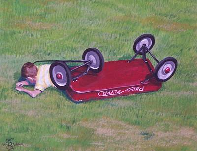 Radio Flyer Wagon Painting - Crash Of The Radio Flyer by Gene Ritchhart