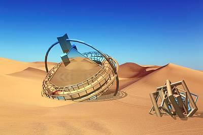 Crash Space Craft In The Desert Art Print