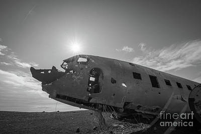 Vermeer Rights Managed Images - Crashed DC 3 Plane in Iceland BW Royalty-Free Image by Michael Ver Sprill