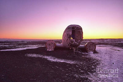 Photograph - Crashed Douglas Dc-3 Super At Sunset by Benjamin Wiedmann