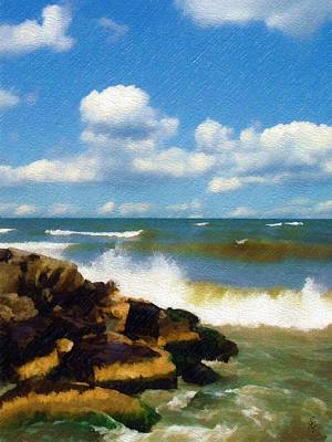 Crashing Into Shore Art Print by Sandy MacGowan