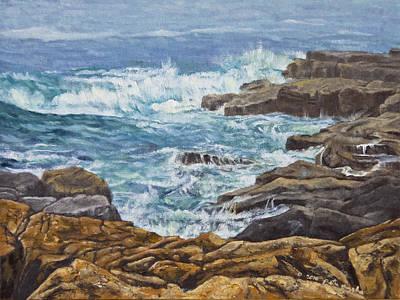 Peter Muzyka Wall Art - Painting - Crashing On The Rocks by Peter Muzyka