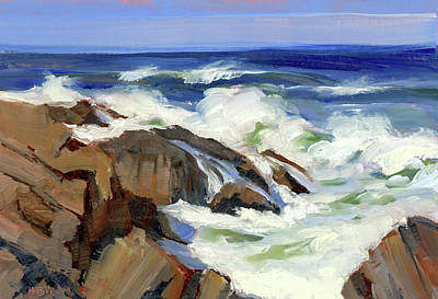 Ogunquit Marginal Way Painting - Crashing Surf by Mary Byrom