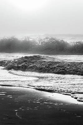 Print featuring the photograph Crashing Wave At Beach Black And White  by John McGraw