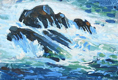 Painting - Crashing Wave Study by Len Stomski