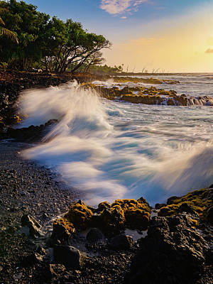 Photograph - Crashing Wave Sunrise Glow by Mark Robert Rogers