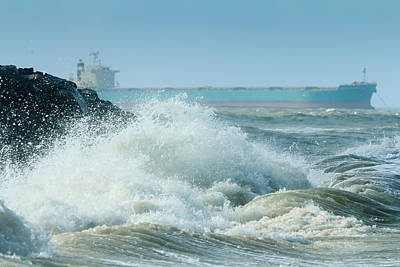 Photograph - Crashing Waves And Freighter by Joni Eskridge