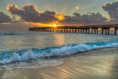 Delray Photograph - Crashing Waves At Sunrise by Debra and Dave Vanderlaan