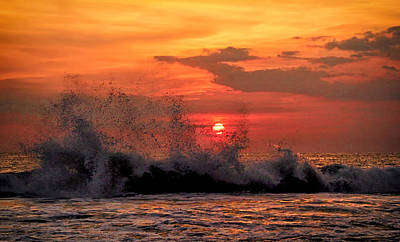 Photograph - Crashing Waves At Sunset by Carolyn Derstine