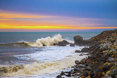 Photograph - Crashing Waves At Sunset by Lynn Bauer