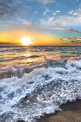 Sunset At The Lake Photograph - Crashing Waves by Debra and Dave Vanderlaan