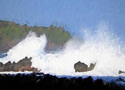 Photograph - Crashing Waves Hawaii Painterly by Mary Bedy
