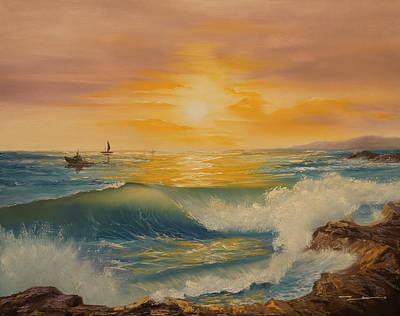 Tidal Creek Painting - Crashing Waves by Ikenna Chineme