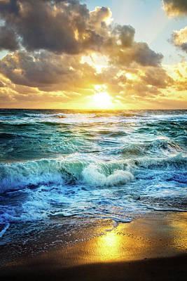 Photograph - Crashing Waves Into Shore by Debra and Dave Vanderlaan