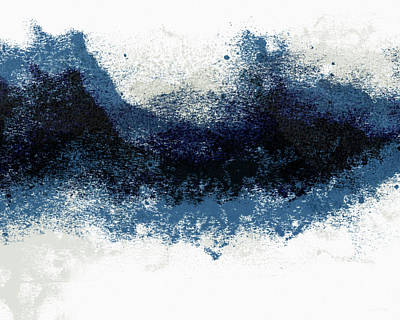 Abstract Landscape Painting - Crashing Waves- Minimal Art By Linda Woods by Linda Woods