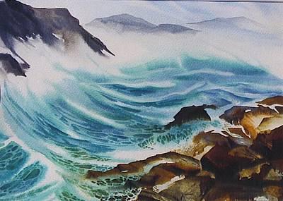 Crashing-waves Art Print by Nancy Newman