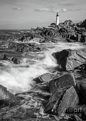 Photograph - Crashing Waves, Portland Head Light, Cape Elizabeth, Maine  -5605 by John Bald