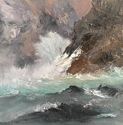 Painting - Crashing Waves Seascape Art by Michele Carter
