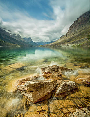 Photograph - Crashing Waves // Saint Mary Lake, Glacier National Park  by Nicholas Parker