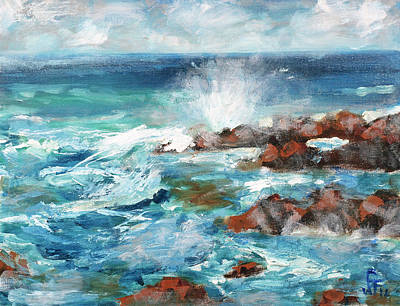 Painting - Crashing Waves by Walter Fahmy