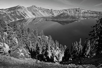 Photograph - Crater Lake 3 Black And White by Frank Wilson