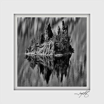 Coast Digital Art - Crater Lake 3 by Ingrid Smith-Johnsen