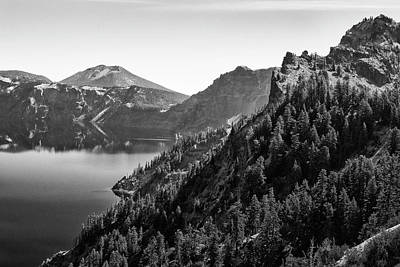 Photograph - Crater Lake 4 Black And White by Frank Wilson