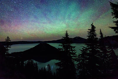 Crater Lake Airglow Print by Cat Connor