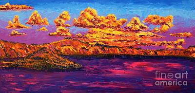 Painting - Crater Lake At Sunset by Eryn Tehan