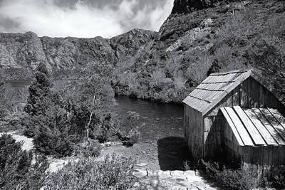 Photograph - Crater Lake Boatshed Black And White by Nicholas Blackwell