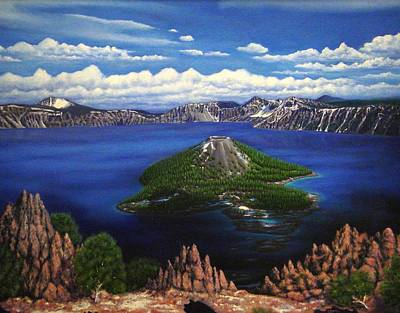 Mystical Landscape Painting - Crater Lake by Charles Hill