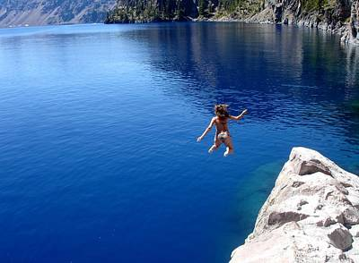 Crater Lake Cliff Jumping Art Print by Two Small Potatoes