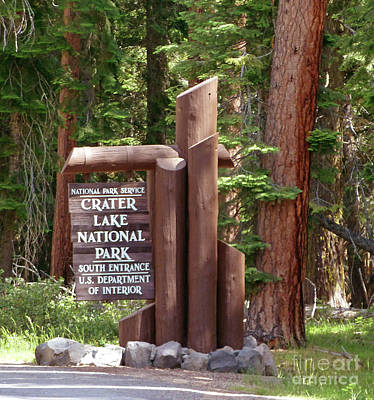 Photograph - Crater Lake Entrance Sign by Methune Hively