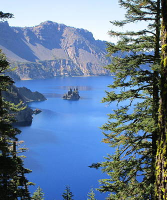 Crater Lake Ghost Ship Island Art Print by Marie Neder