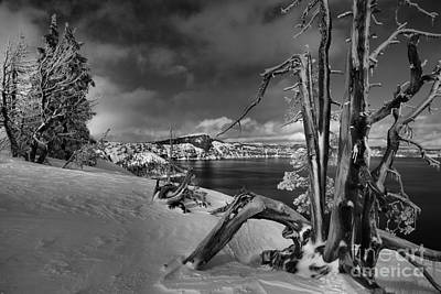 Photograph - Crater Lake Harsh Winter by Adam Jewell