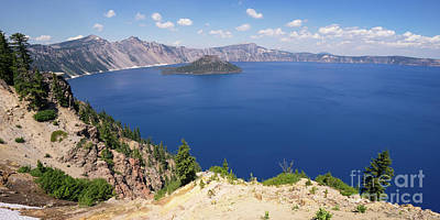 Photograph - Crater Lake Klamath County Oregon Dsc5197 Panorama by Wingsdomain Art and Photography