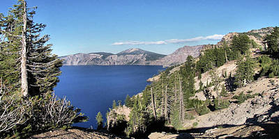 Crater Lake  Mountain Panorama Scene Picture Decor  Art Print by John Samsen