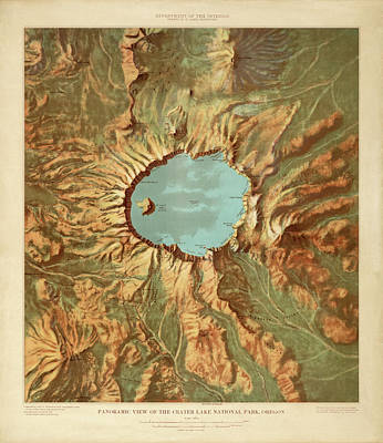 Drawing - Crater Lake National Park Map By The Us Geological Survey - 1915 by Blue Monocle