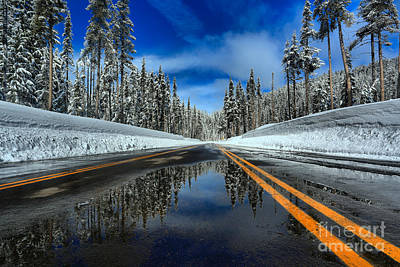 Photograph - Crater Lake Road Reflections by Adam Jewell
