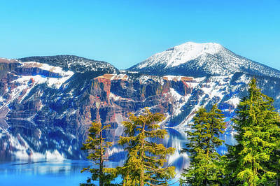 Photograph - Crater Lake Early Dawn Scenic Views by Dee Browning