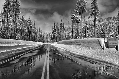 Photograph - Crater Lake Snow Zone - Black And White by Adam Jewell