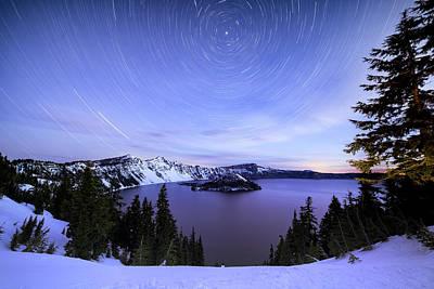 Photograph - Crater Lake Star Trail by Matt Skinner